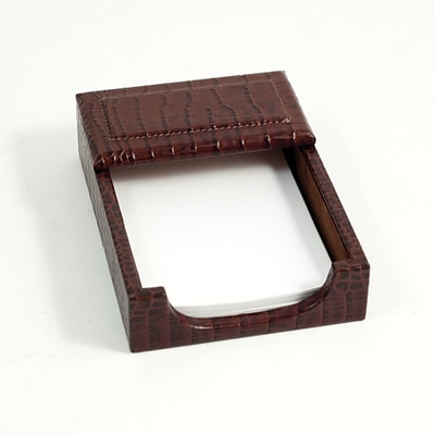 Bey-Berk D1412 Croco Leather Memo Holder, 4(L) x 6(W), Brown