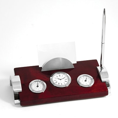 Bey-Berk D147 Weather Station With Clock, Card Holder and Pen
