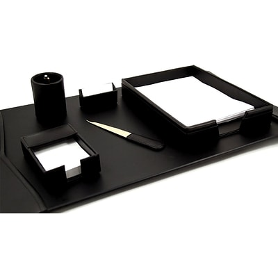 Bey-Berk D2000 6 Piece Leather Desk Set With Gold Plated Accent, Black