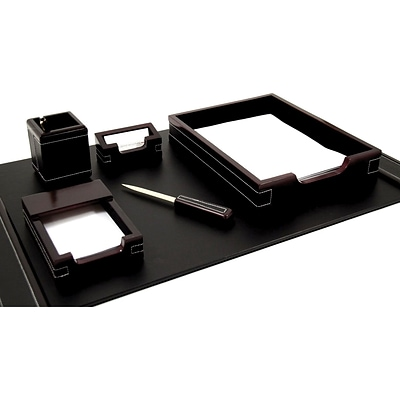 Bey-Berk D2004 6 Piece Leather Desk Set With Gold Plated Accent, Cherry Wood and Black