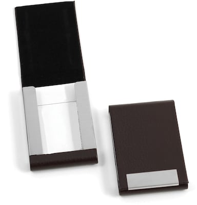 Bey Berk D252 Leather Business Card Case With Flip Top And Magnetic Closure, Brown