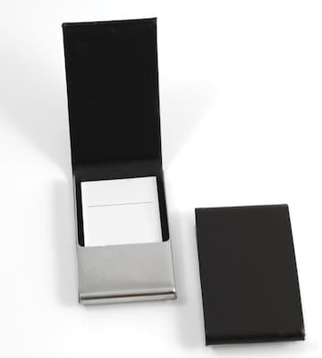 Bey Berk D258 Leather Business Card Case With Flip Top And Magnetic Closure, Black