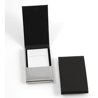 Bey-Berk D258 Leather Business Card Case With Flip Top and Magnetic Closure, Black