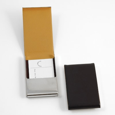 Bey Berk D258 Leather Business Card Case With Flip Top And Magnetic Closure, Brown