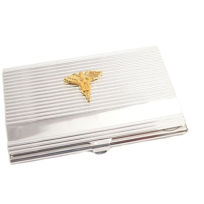 Bey berk d261 silver plated business card case with gold plated bey berk d261 silver plated business card case with gold plated accents dental colourmoves
