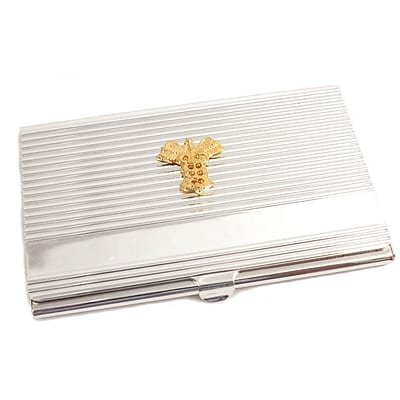 Bey-Berk D261 Silver Plated Business Card Case With Gold Plated Accents, Medical