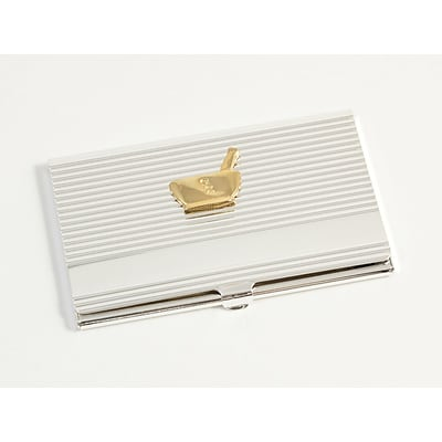 Bey-Berk D261 Silver Plated Business Card Case With Gold Plated Accents, Pharmacy