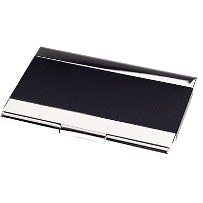 Bey-Berk D269 Nickel Plated Business Card Case With Black Anodized Trim
