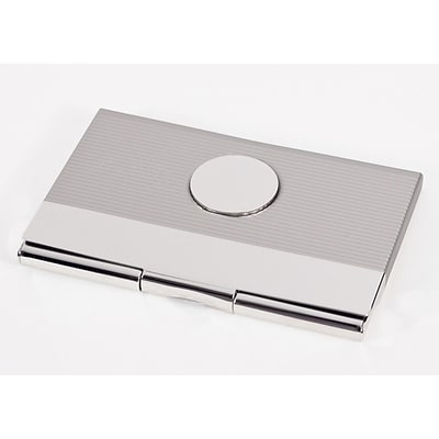 Bey-Berk D297 Nickel Plated Business Card Case With Round Medallion and Satin and Shiny Finish