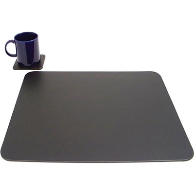 Bey-Berk D433 Conference Table Pad With Single Coaster, Black, 17(L) x 14(W)