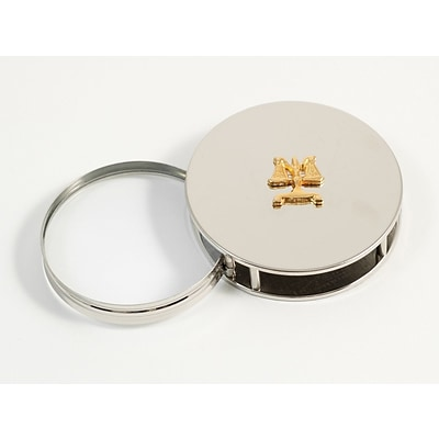 Bey-Berk D521 Chrome Plated Magnifying Glass Paperweight, Legal