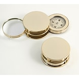 Bey-Berk D621 Paperweight and Fold Out Magnifier With 3X Magnification and Compass, Gold Plated