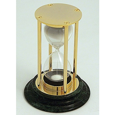 Bey-Berk D831 15 Minute Brass and Green Marble Sand Timer