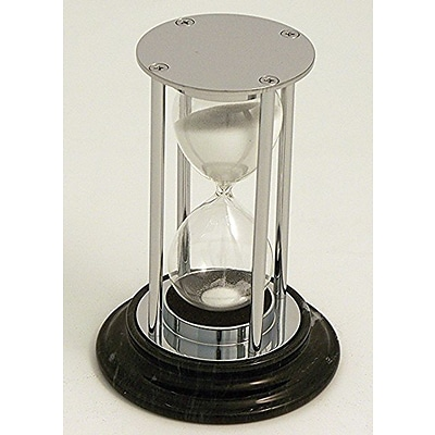 Bey-Berk D832 15 Minute Chrome and Black Marble Base Sand Timer