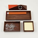 Bey-Berk D990 4 Piece Walnut Wood Desk Set With Business Card Holder
