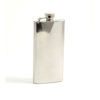 Bey-Berk FS1055 Stainless Steel Mirror Finish Boot Flask With Cap and Durable Rubber Seal, 5 1/2 oz.