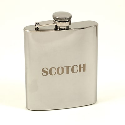 Bey-Berk FS107B Stainless Steel Mirror Finish Flask With Cap and Rubber Seal, 7 oz., Scotch