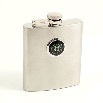Bey-Berk FS108D Stainless Steel Compass Flask With Captive Cap and Durable Rubber Seal, 8 oz.