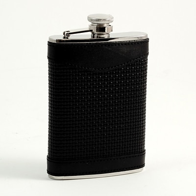 Bey-Berk FS218 Stainless Steel Black Leather Woven Flask With Cap and Rubber Seal, 8 oz.
