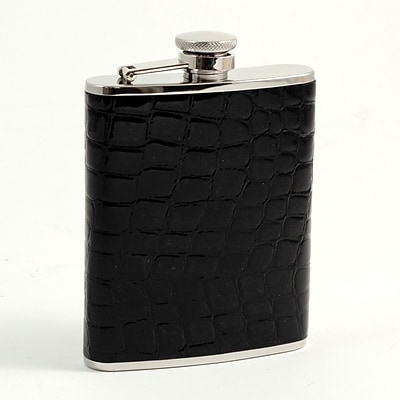 Bey-Berk FS316 Stainless Steel Black Croco Leather Flask With Captive Cap and Rubber Seal, 6 oz.