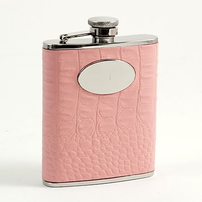 Bey-Berk FS356 Stainless Steel Pink Croco Leather Flask With Engraving Medallion, 6 oz.