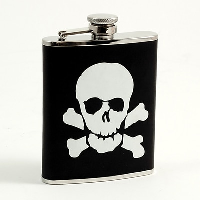 Bey-Berk FS386 Stainless Steel Black Leather Skull and Bones Flask With Cap and Rubber Seal, 6 oz.