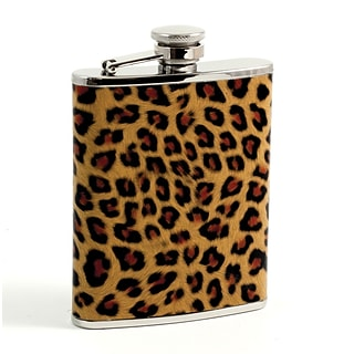 Bey-Berk FS436 Stainless Steel Leopard Pattern Flask With Captive Cap and Rubber Seal, 6 oz.