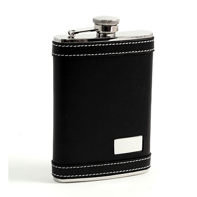 Bey-Berk FS718 Stainless Steel Black Leather Flask With White Stitching and Engraving Plate, 8 oz.