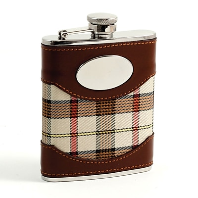 Bey-Berk FS746 Stainless Steel Brown Leather and Beige Plaid Fabric Flask With Oval Emblem, 6 oz.
