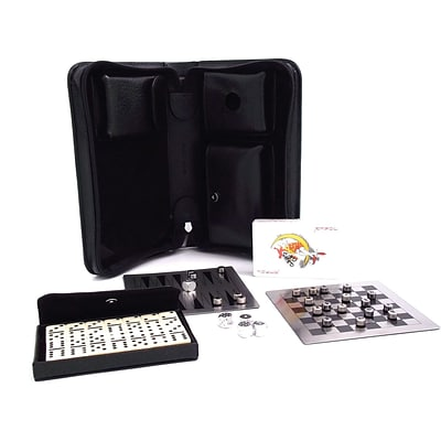 Bey-Berk G524 Black Leather Multi Game Set With Dominos, Playing Cards, Backgammon, Chess