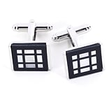 Bey-Berk J105 Rhodium Plated Cufflinks, Pearl Square