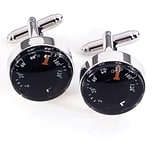Bey-Berk J127 Rhodium Plated Cufflinks, Functional Thermometer