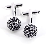 Bey-Berk J128 Rhodium Plated Cufflinks, Black