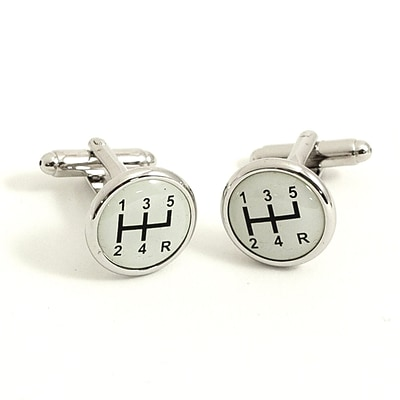 Bey-Berk J132 Rhodium Plated Cufflinks, Gear Shifter Design