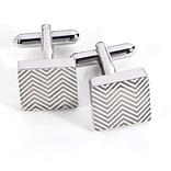 Bey-Berk J168 Rhodium Plated Cufflinks, Square Waive