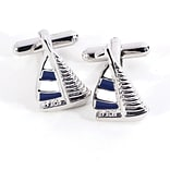 Bey-Berk J182 Rhodium Plated Cufflinks, Sailboat