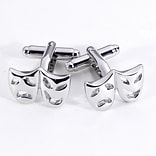 Bey-Berk J193 Rhodium Plated Cufflinks, Comedy and Tragedy