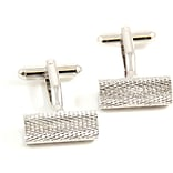 Bey-Berk J228 Rhodium Plated Cufflinks, Round bar