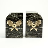 Bey-Berk R10E Tennis Bookends, Green Marble, Gold Plated Finish
