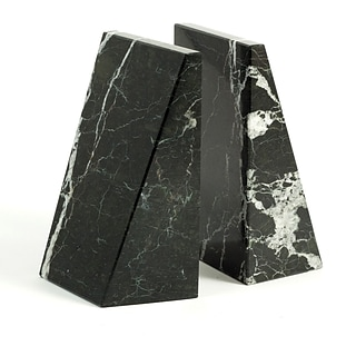 Bey-Berk R10H Bookends, Black Zebra Marble, Mirror Finished