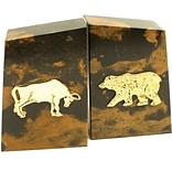 Bey-Berk R11B Stock Market Bookends, Solid Marble, Gold Plated Finish