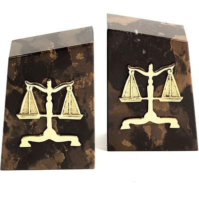 Bey-Berk R11L Legal Bookends, Solid Marble, Gold Plated Finish