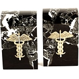 Bey-Berk R15M Medical Bookends, Brass and Marble, Gold Plated Finish