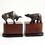 Bey-Berk R18M Wall Street Bookends, Brass and Burl Wood, Bronzed