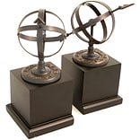 Bey-Berk R18S Sundial Bookends, Cast Metal and Wood Base, Verdigris Finished