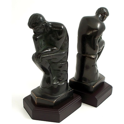 Bey-Berk R18T Thinker Bookends, Brass and Wood Base, Bronzed
