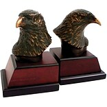 Bey-Berk R18Y Eagle Bookends, Brass and Burl Wood Base, Bronzed/Patina Finished