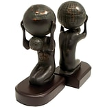 Bey-Berk R19A Atlas With Globe Bookends, Brass and Wood Base, Bronzed