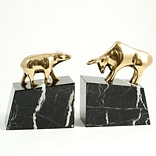 Bey-Berk R19B Wall Street Solid Bookends, Brass and Marble Base, Lacquer Finished
