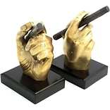 Bey-Berk R19C Cigar Bookends Antique Brass, Wood Base